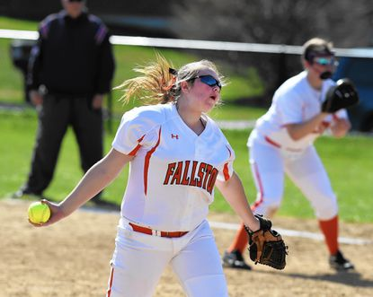 Fallston pitcher Allisyn Evans delivers the pitch to the waiting Edgewood batter. Evans had eight strikeouts in Wednesday's home game.