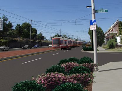 Red Line - Red Line - Other US 40 rendering. US 40 Hilton to WB MARC 2-lane LRT.