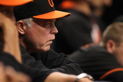 Manager Buck Showalter looks on from the dugout during the eighth inning against the Tampa Bay Rays on July 15, 2016 at Tropicana Field in St. Petersburg, Fla.