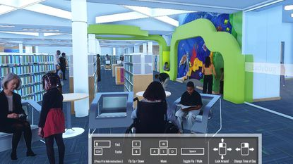 Interior view of the new Elkridge branch library, as seen via a virtual tour created by the project's architectural firm, Grimm and Parker.