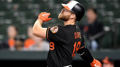 Chris Davis of the Orioles hits a home run in the seventh inning against the Los Angeles Angels at Oriole Park at Camden Yards on May 10.