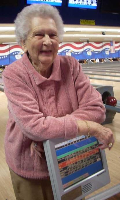 Louise Slack, 91, a league bowler at Normandy Lanes, has a high score of 190.