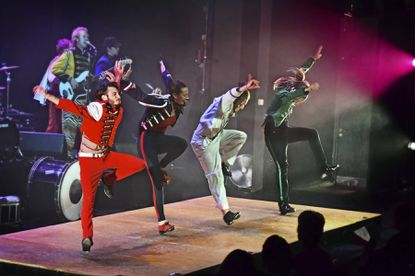 The Rhythmic Circus includes four tap dancers, a six-piece band, vocalists, and even some a cappella vocalizing by a beat-boxing performer.