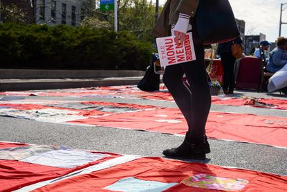 The Monument Quilt on North Avenue on Sunday, April 10.