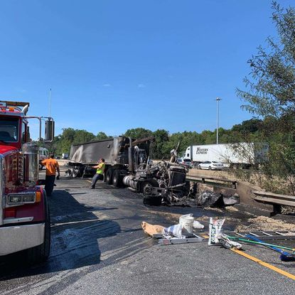 A crash and vehicle fire temporarily shut down I-95 north on Friday, Aug. 30.