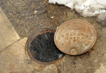 Water is spilling out of the water meter cover on the sidewalk in front of Monica Amneus' and Aaron Smith's house.