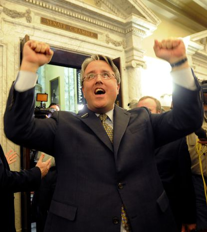 State Sen. Richard Madaleno, who is gay, cheers after the Senate approved a bill that would legalize same-sex marriage.
