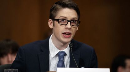 Ethan Lindenberger testifies during a Senate Committee on Health, Education, Labor, and Pensions hearing on Capitol Hill in Washington, Tuesday, March 5, 2019, to examine vaccines, focusing on preventable disease outbreaks. (AP Photo/Carolyn Kaster)
