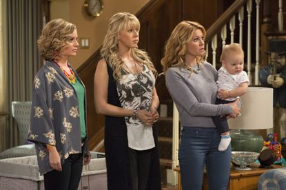 "Andrea Barber, left, Jodie Sweetin and Candace Cameron Bure are back in ""Fuller House,"" streaming on Netflix beginning Friday."