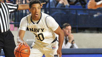 Navy's Shawn Anderson scored 28 points against Lafayette on Wednesday as the Mids downed the Leopards, 71-69, at Alumni Hall.