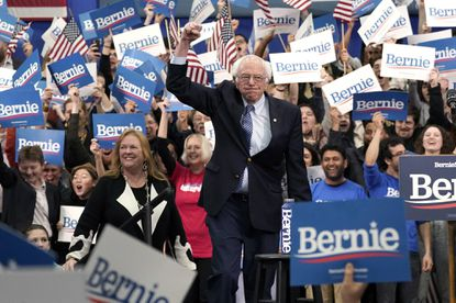 Democratic presidential candidate Sen. Bernie Sanders (I-Vt.) takes the stage during a primary night event Tuesday.
