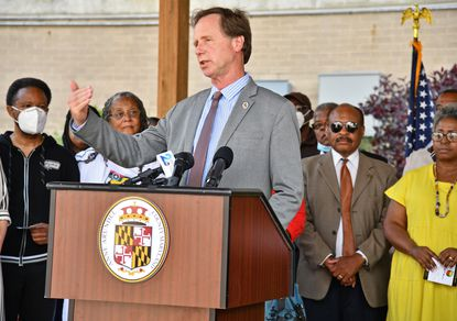 County Executive Steuart Pittman during an event at The People's Park in Annapolis, Wednesday, June 2, 2021. Pittman has promised $500,000 in seed funding in the next fiscal year budget for office and personnel expenses to stand up a resilience authority that will fund city and county infrastructure projects to combat climate change.