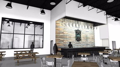 A rendering of the planned Crooked Crab Brewing Company taproom and brewery in Odenton, which owners hope to open before the end of the year.