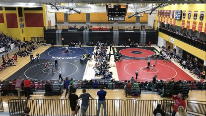 The 3A and 4A state semifinalists compete at the MPSSAA state wrestling dual championships at North Point High School in Waldorf on Saturday, February 9, 2019.