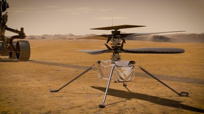This illustration made available by NASA depicts the Ingenuity Mars Helicopter on the red planet's surface near the Perseverance rover, left. NASA is upping the ante with its newest rover headed to Mars. Set to rocket away this week from Florida, Perseverance is NASA's brawniest and brainiest Martian rover yet.