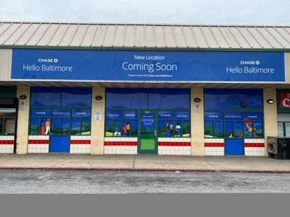 The Cherry Hill Town Center storefront where Chase Bank plans to open its fourth Baltimore branch this summer, part of a 20-branch expansion into the Baltimore market.
