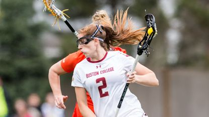 Boston College women's lacrosse player Sam Apuzzo against Virginia Tech at Newton Campus Lacrosse & Soccer Field on April 14, 2018.