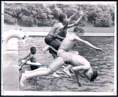 The first group of mixed swimmers at Druid Hill Park Pool No. 1 since integration. Date Created: 1956-06-23