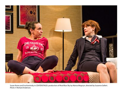 """Susan Rome and Eva Kaminsky in Center Stage's production of """"Mud Blue Sky"""" by Marisa Wegrzyn, directed by Susanna Gellert."""
