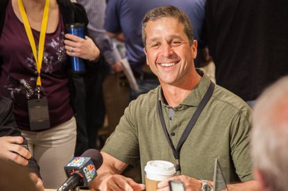John Harbaugh at the AFC Coaches Breakfast.
