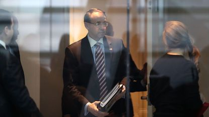 WASHINGTON, DC - Deputy Attorney General Rod Rosenstein arrives at the Newseum to participate in a chat about the state of the internet, on January 29.