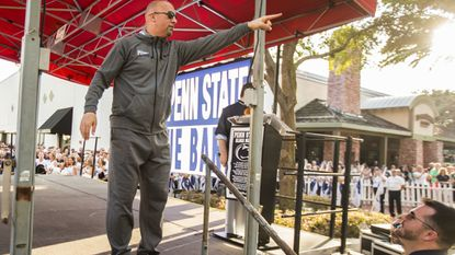 Penn State coach James Franklin waves to fans at the Citrus Bowl pep rally in December in Orlando.