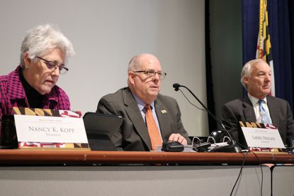 The Maryland Board of Public Works, which is comprised of, from left, Treasurer Nancy Kopp, Gov. Larry Hogan and Comptroller Peter Franchot, will determine how state government keeps its budget in balance as revenues continue to fall sharply during the pandemic - at least until the state legislature reconvenes which is most likely not until January. (AP Photo/Brian Witte)