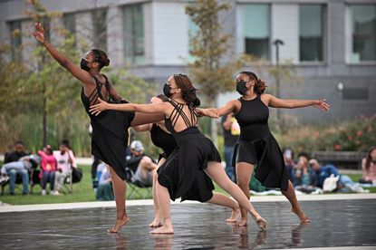 Dance students from the Radius Performance Company of the Morton Street Dance Center join members of Full Circle Dance Company in presenting Dancing Free: Open Air Dances of Courage and Resilience Free Fall Baltimore Community Performance on Sunday October 10, 2021 at Eager Park.