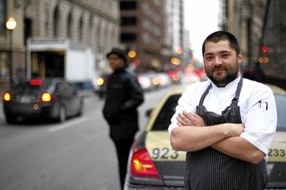 Chef Jordan Miller poses outside of the Lord Baltimore Hotel.