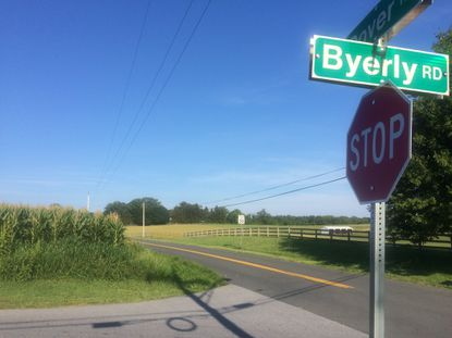 The intersection of Dover and Byerly roads in Upperco where a cyclist collided with a pick-up truck Friday and died.