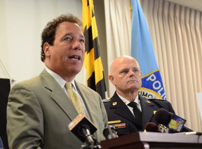 Baltimore County Executive Kevin Kamenetz, left, joins police Chief Jim Johnson in announcing the county's crime statistics for 2014 during a news conference in Towson on Wednesday. Overall crime declined last year, despite an uptick in the number of homicides.