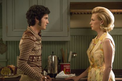 A very grown up Creepy Glenn comes to visit, muttonchops, chest hair and all. Much to Sally's disappointment, he's not there to see her; he's there to make a move on Betty.