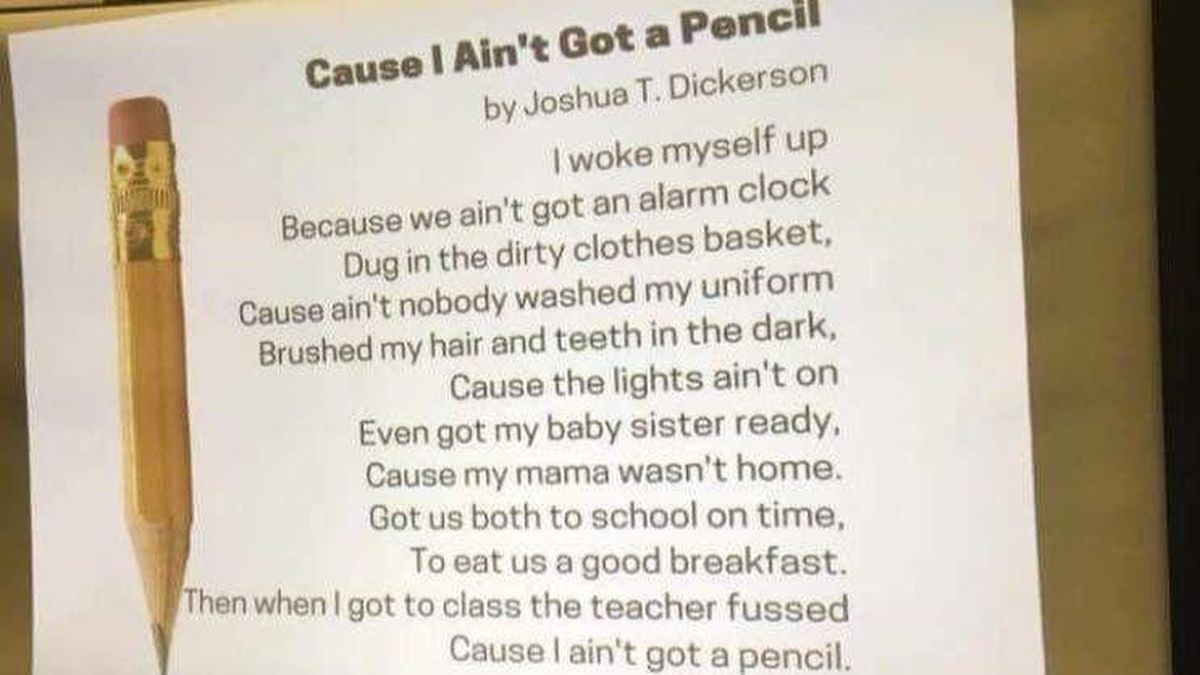Viral poem, 'Cause I Ain't Got a Pencil,' was not written by