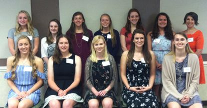 Harford County high school juniors honored during the Dr. Judith Resnik awards program April 22 were, standing from left, Jenna Signorelli, Kacey LeBrun, Julianna Stevens, Brooke Ricky, Adelina Minter and Allison Frick, with speaker Dr. Jennie Hart. Seated from left, Lydia Thompson, Emmy Smith, Catherine Lewis, Jordan Althoff and Natalie Majerik, Naomi Karmel is not pictured.