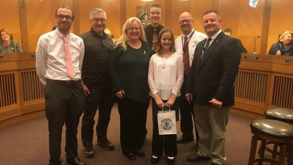 Elly Devoe, a student at Havre de Grace Middle School, is honored by the Havre de Grace City Council Monday as a Student of the Month.