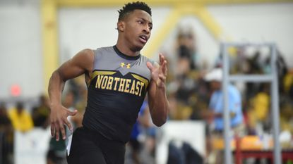 Northeast-AA's Davon Carroll wins the Class 3A 300-meter title during the MPSSAA state indoor track and field championships at Prince George's Sports & Learning Complex on Feb. 20.