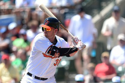 Orioles catcher Matt Wieters waits for a pitch during the second inning of a spring training game against the Minnesota Twins at Ed Smith Stadium on March 17, 2015 in Sarasota, Fla.