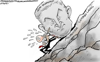 Democrats try to roll Sen. Joe Manchin up Filibuster Mountain. June 8, 2021 (Dana Summers, Tribune Content Agency)