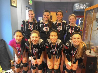 The Cyclones volleyball team are, top row from left, Malia Henry, Erin Cutroneo, Emily Chi and Hayley Cook, and, bottom row from left, Joyce Ma, Lauren Prinn, Alice Wei and Anna Eglitis.