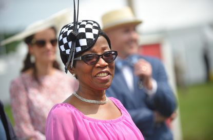 "Darlene Young, wife of Baltimore Mayor Bernard C. ""Jack"" Young, enjoying time in the Preakness Village before the 144th Preakness Stakes at Pimlico Race Course."
