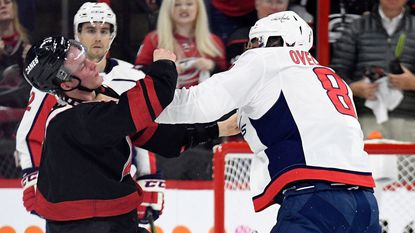Hurricanes rookie in concussion protocol after taking punch to face from Capitals' Alex Ovechkin