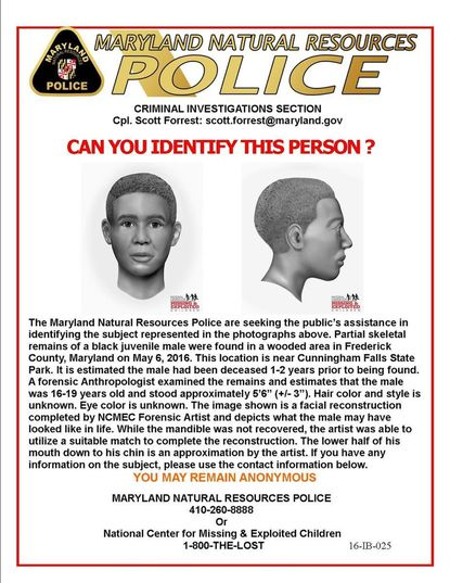 Maryland Natural Resources Police have released this facial reconstruction sketch of an unidentified young man whose skeletal remains were found May 6, 2016, in Cunningham Falls State Park near Thurmont, Md.
