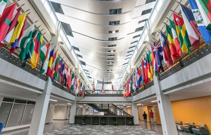 International flags fly at the updated Academic Commons space at Howard Community College reflecting the school's diversity.