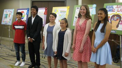 Student artists who created prize-winning art depicting equal justice were, from left, Jaiden Sao, Tommy Thaodara, Nico Standifer, Charlotte Morton, Marielle Lappe and Jimena Martinez.