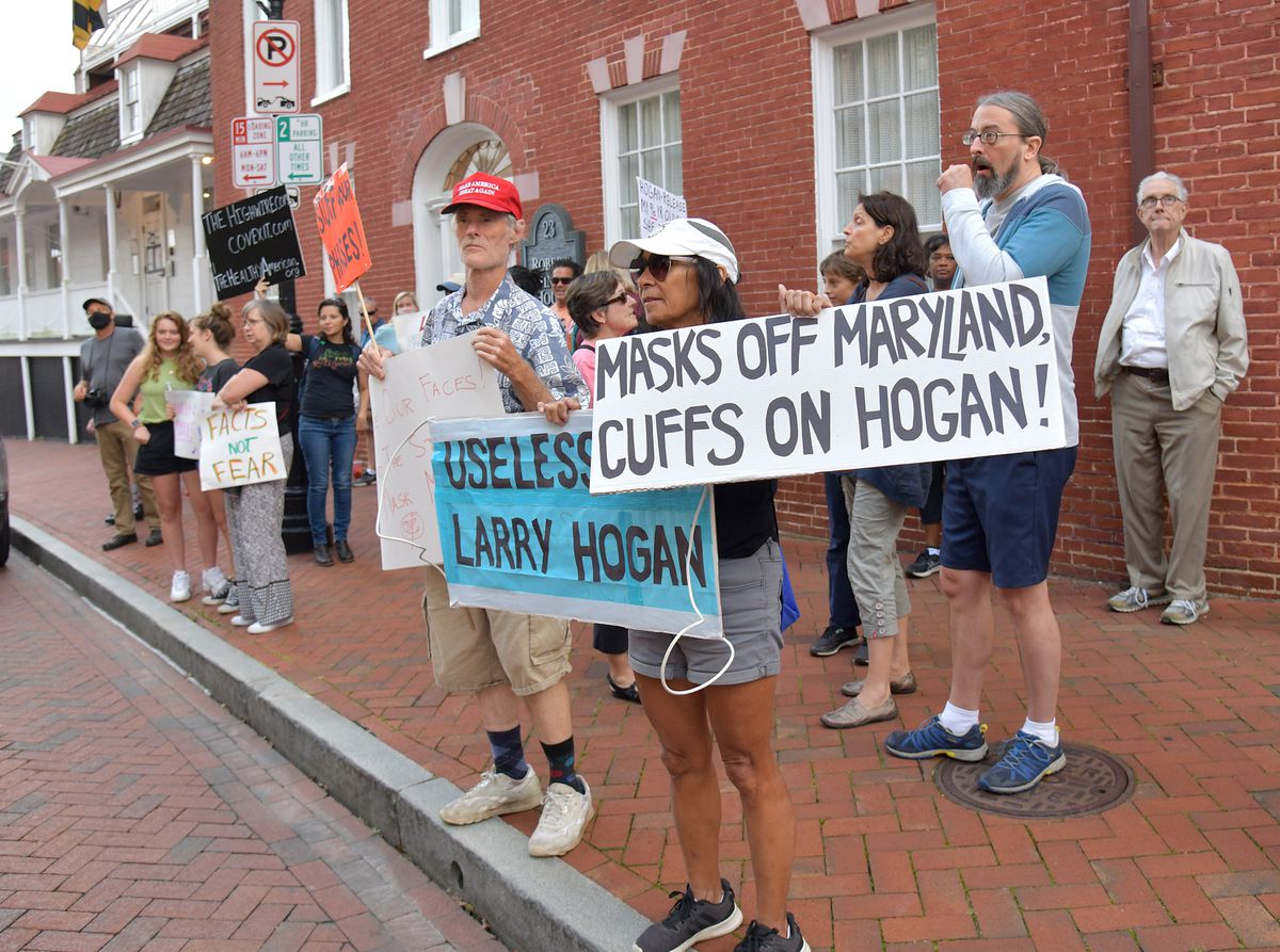 'No more mandates!' Reopen rally draws dozens to governor's mansion in Annapolis