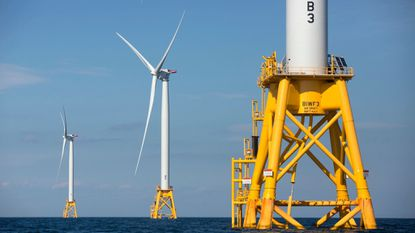 Three of Deepwater Wind's turbines stand in the water off Block Island, R.I. Maryland regulators last year approved plans for the nation's first large-scale offshore wind projects but the Ocean City Council now frets how they'll impact the beach view 17 miles away.