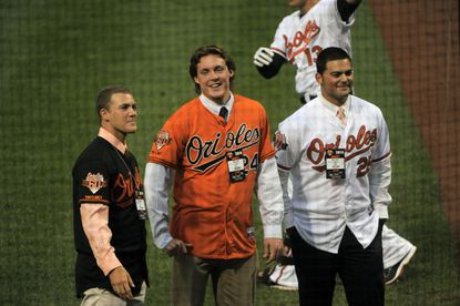 From left, fifth-round draft pick David Hess, fourth-round draft pick Pat Connaughton and third-round draft pick Brian Gonzalez are introduced at Camden Yards.