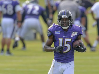 Wide receiver LaQuan Williams sprints down a sidelines after making a catch during a drill as the Baltimore Ravens hold training camp at their practice facility in Owings Mills on College Park on August 2, 2013.