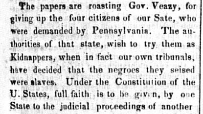 An unidentified newspaper article in support of four men who forcibly took Margaret Morgan and her children from Pennsylvania to Harford County in 1837, claiming Morgan was a runaway slave. Her case was the subject of lecture Saturday at the county Historical Society.
