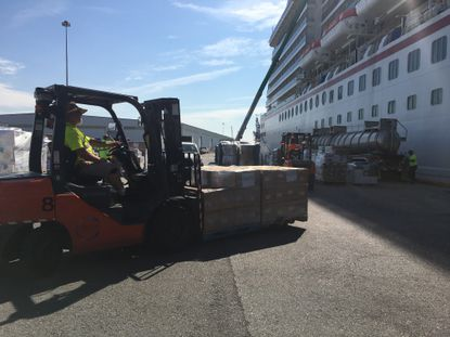 Pallets of water, generators and other hurricane relief supplies will be delivered to the Bahamas from Baltimore aboard the Carnival Pride cruise ship this week.